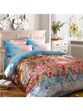 Wonderland Garden Print 4-Piece Cotton Duvet Cover Sets
