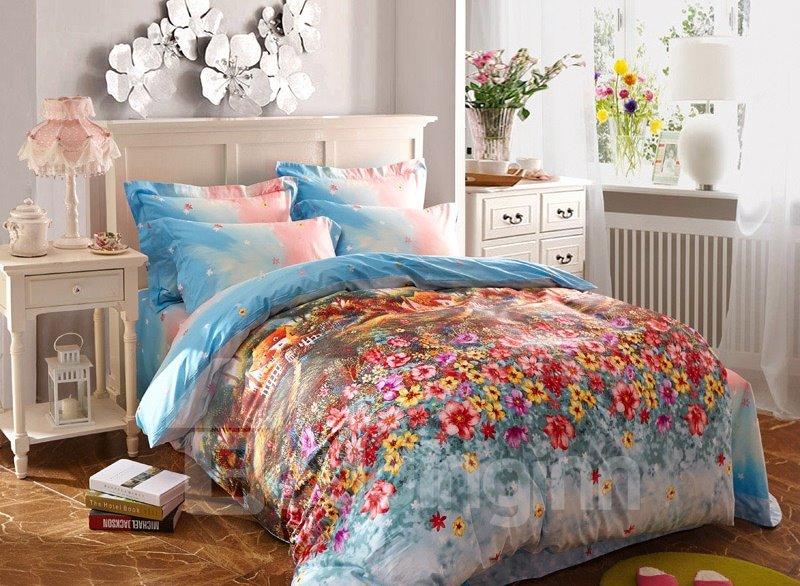Wonderland Garden Print 4-Piece Cotton Duvet Cover Sets