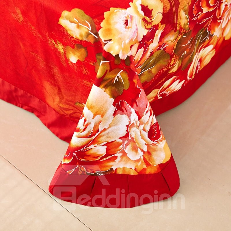Luxurious Flower Print 4-Piece Cotton Duvet Cover Sets