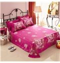 Red Flowers Print 4-Piece Cotton Duvet Cover Sets