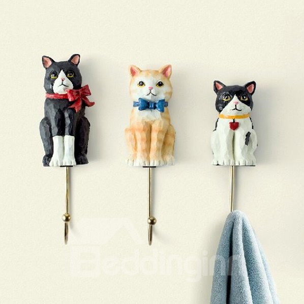 Lovely Gorgeous Three Cats High Grade Resin 3-piece Hook 11289574