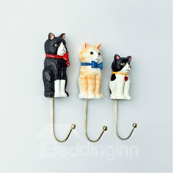 Lovely Gorgeous Three Cats High Grade Resin 3-piece Hook