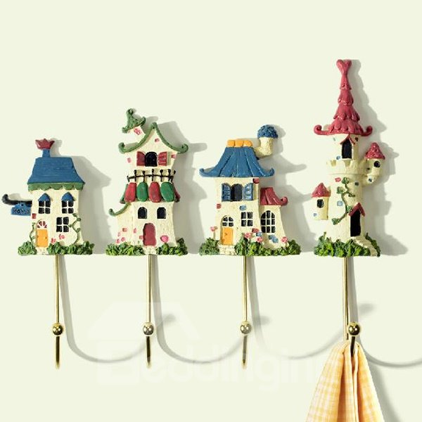 Pastoral Colorful Small House Shape Resin 4-piece Hooks