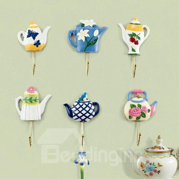 Romantic Floral Butterfly Bird Teapot Shape 6-piece Hooks