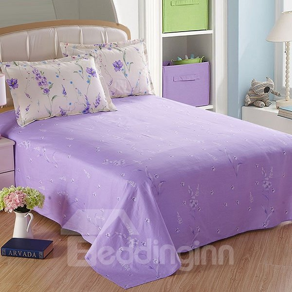 Purple Romantic Little Flowers Printed Cotton Sheet