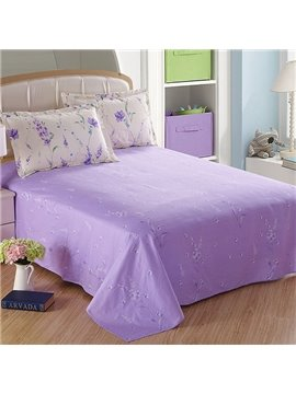 Purple Romantic Little Flowers Printed Cotton Sheet