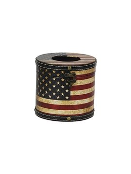 Chic the Stars and the Stripes Print Round Tissue Box
