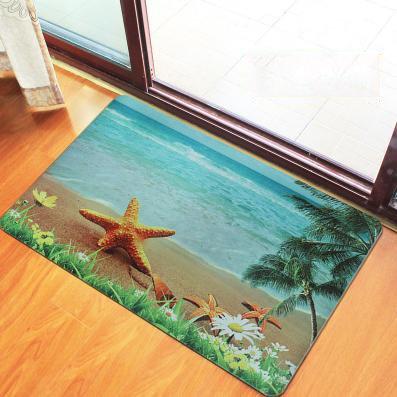 Wonderful Starfish and Seaside Scenery Pattern Non-Woven Fabric 3D Doormat