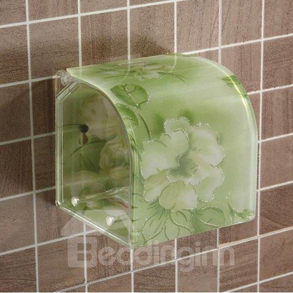 Graceful Flower Print Green Toilet Paper Holder