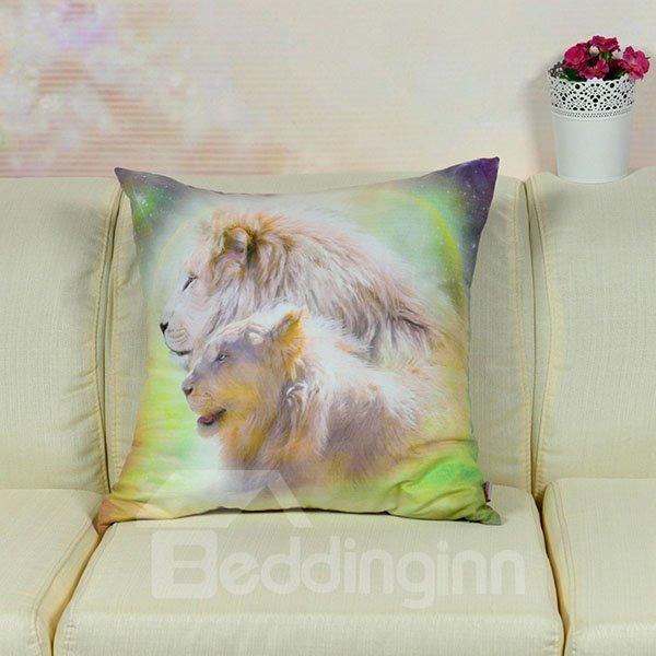 High Quality Vivid Lions Printed Throw Pillow