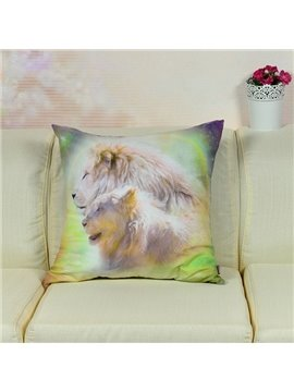 High Quality Vivid Lions Printed Throw Pillow