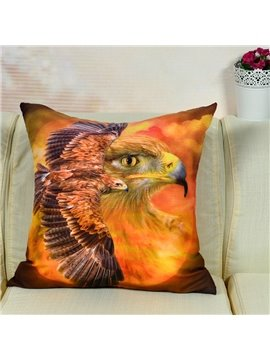 Lifelike Flying Eagle Printed Throw Pillow