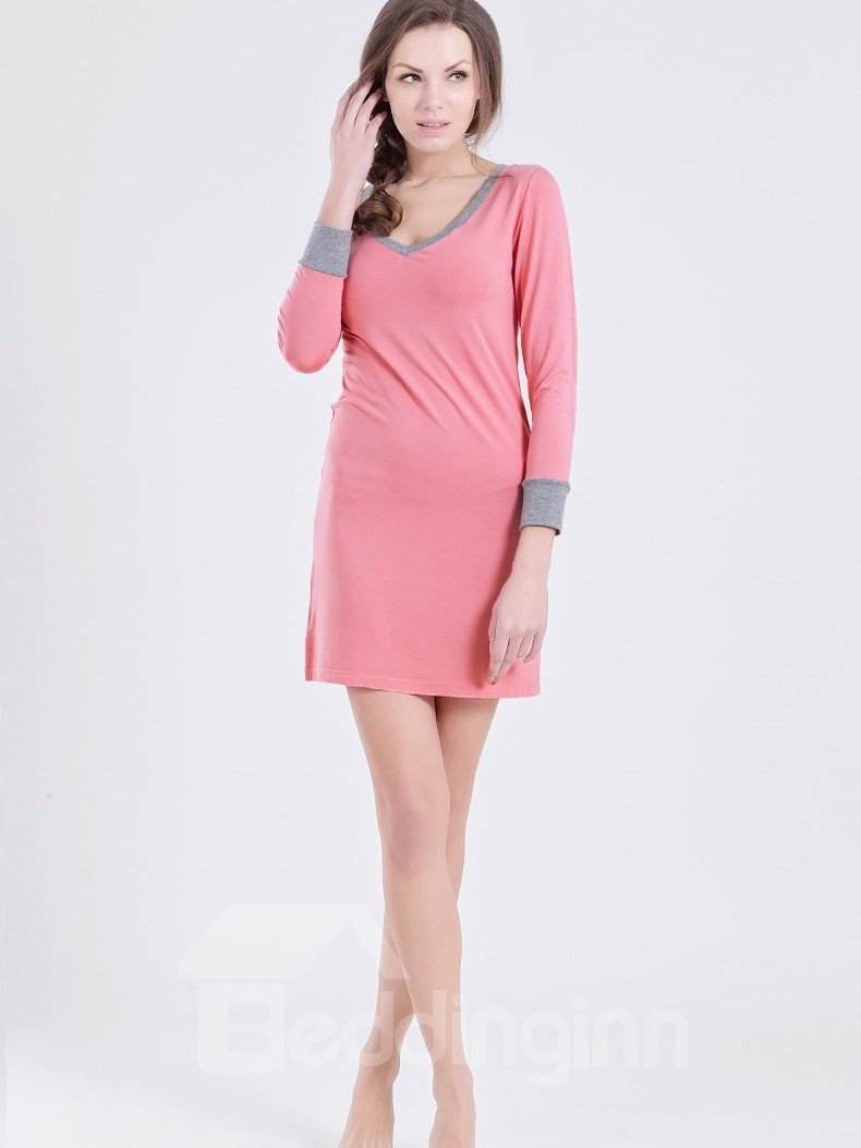 Solid Color Contra Neck Edge And Cuff Comfy  Cotton Sleepshirt