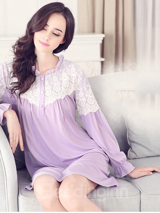 Lilac Comfy  Cotton Lace Romantic Shoulder Long Sleeves Nightgown