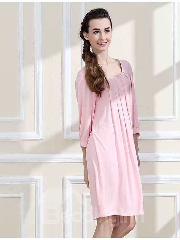 Pure Color Comfy Modal Cotton Round Neck Long Sleeves Nightgown
