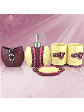 European Fashion High Heel Bag Print 5-piece Bathroom Accessories