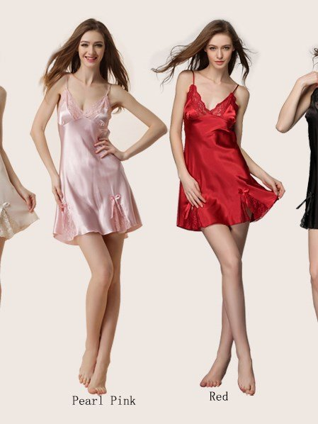 Lace V Neck And Open Sides Adjustable Straps Artificial Silk Chemise
