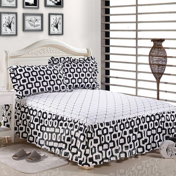 Classical Black and White Grid Printed Bed Skirt