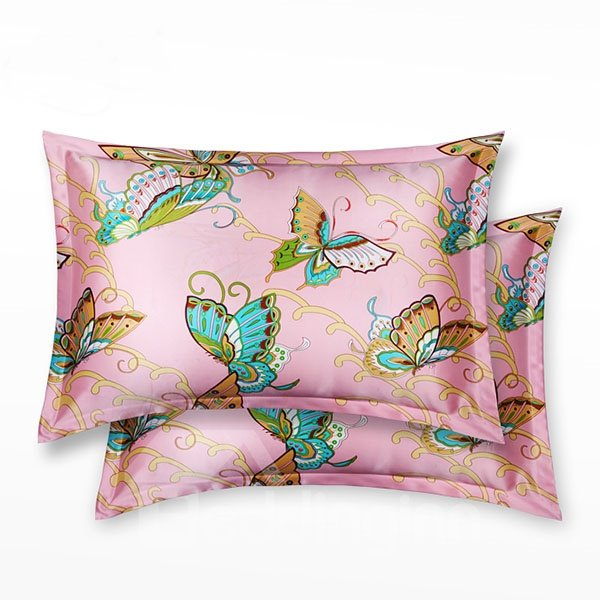 Beautiful Butterfly Printed Mulberry Silk Skincare Pillowcase