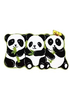 Vivid Pandas Eating Bamboo Anti-slip Bath Rug