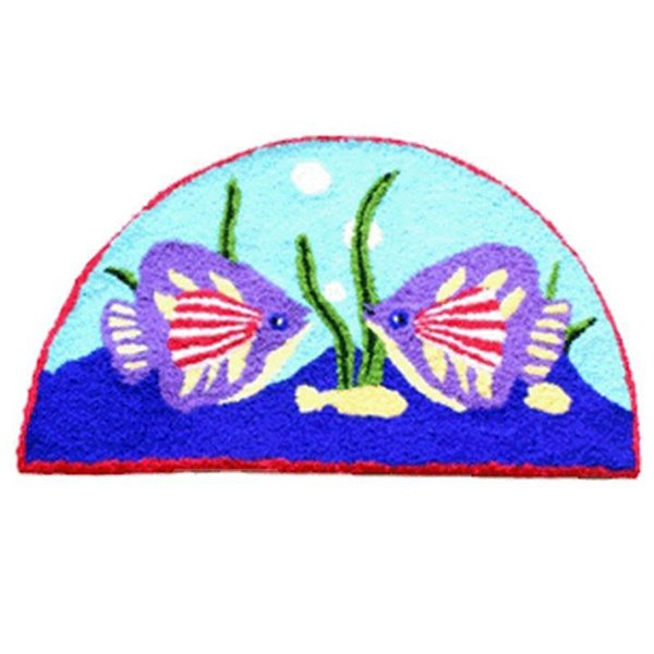 Cozy Cartoon Fishes Acrylic Fibres Bath Rug