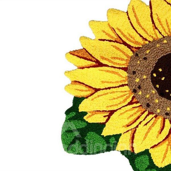 European Pastoral Lightful Plush Sunflower Bath Rug