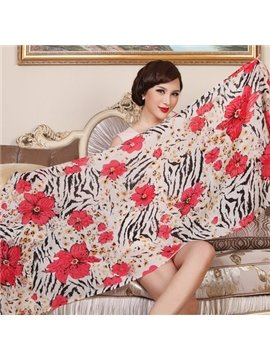 Floral And Tiger Skin Pattern Huge Size Wool Long Scarf