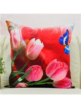Fresh Tulips and Butterfly Printed Throw Pillow