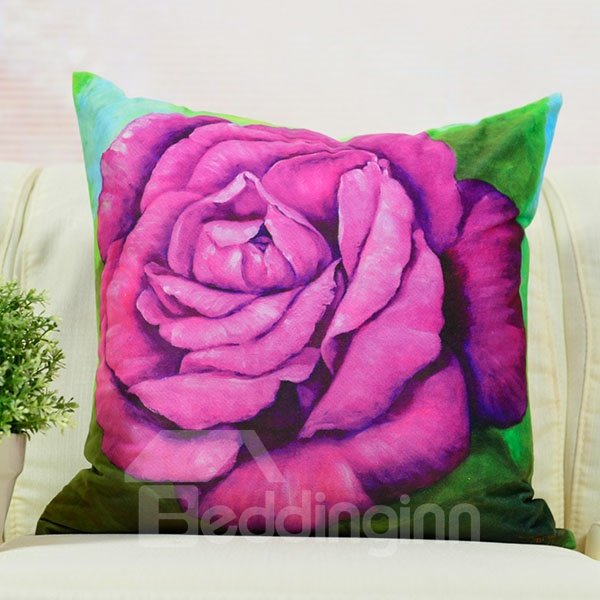 Elegant Blooming Flower Printed Throw Pillow