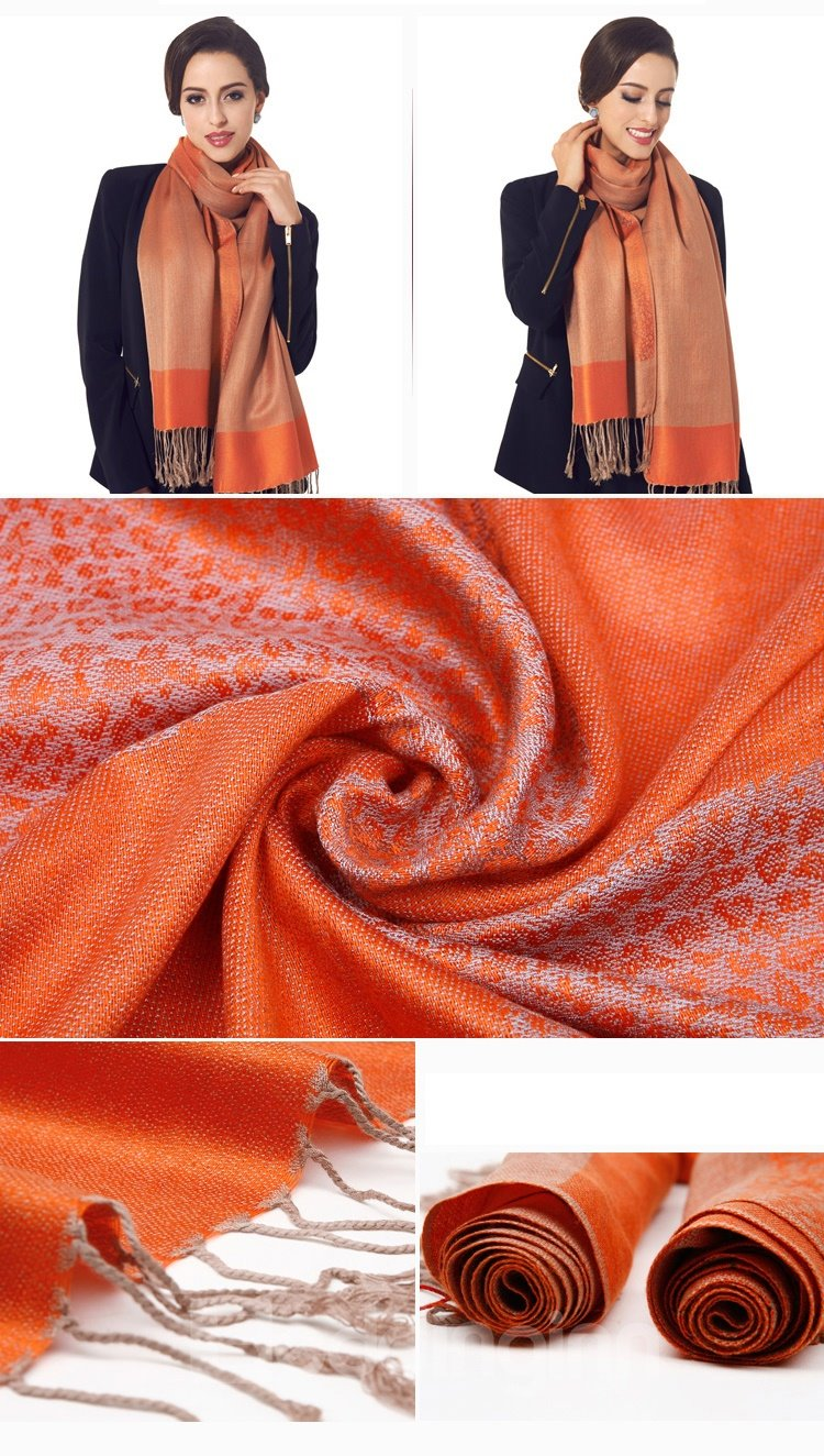 Beautiful Orange Tassel Ends Leopard Cotton Long Scarf