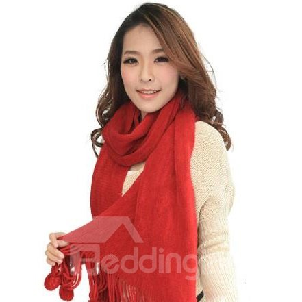 Cotton Solid Color Fuzzy Tassel Ball Long Shawl Scarf