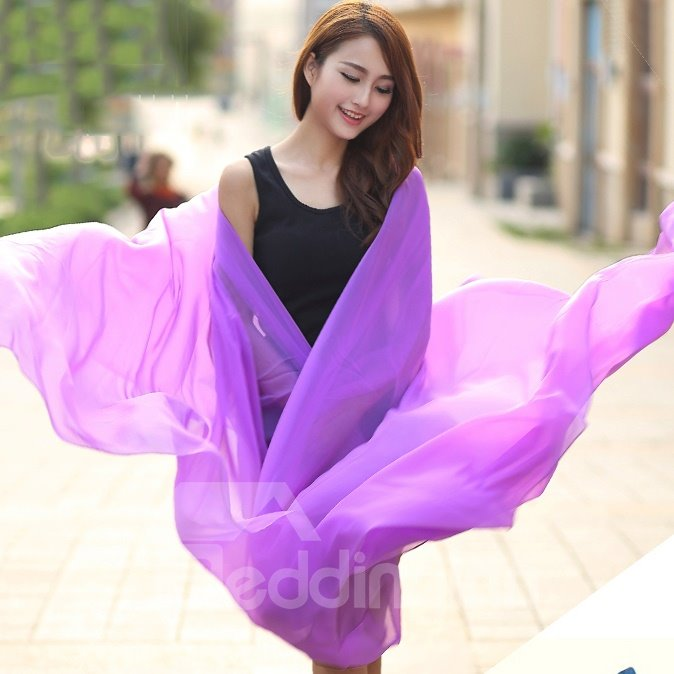 Romantic Chiffon Lilac Huge Long Shawl Scarf