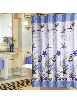 Fancy Noble Purple Starfish Dacron Shower Curtain