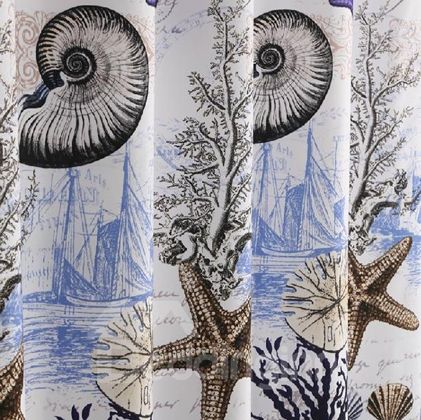 Fancy Noble Purple Starfish Dacron Shower Curtain