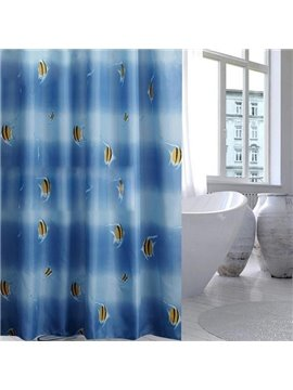 Top Class Thick Fishes Print Blue Shower Curtain