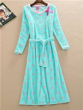 Solid Color Round Neck Loose Fit Belted Nightgown