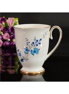 Classic Elegant Aristocratic Blue Flowers Creative Mug