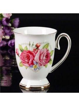 Top Quality Bone China Beautiful Roses Creative Mug