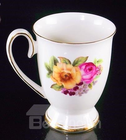 Top Classic Bone China Blossoming Flowers Creative Mug