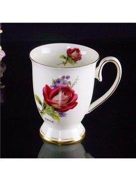 Popular Bone China Romantic Roses Creative Mug
