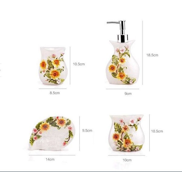 Fancy blooming sunflower resin 5 piece bathroom for Fancy bathroom sets