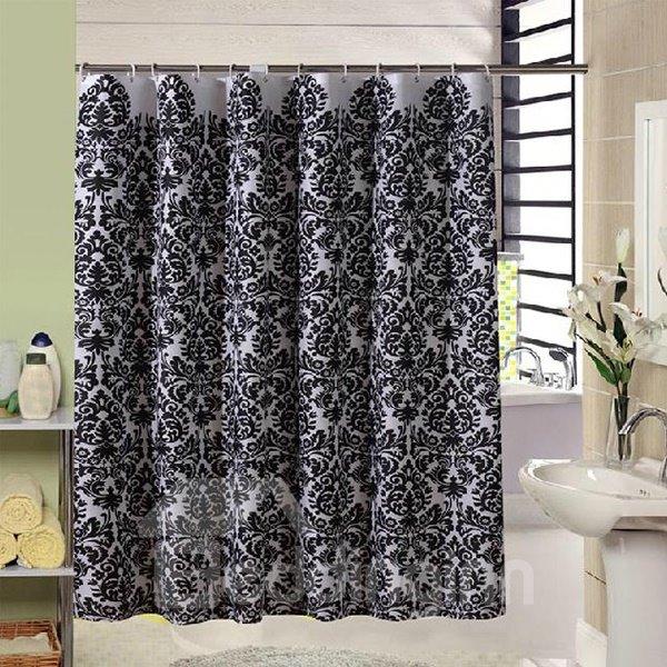 High Grade Jacquard Polyester Black Shower Curtain