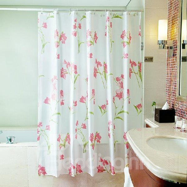 Romantic Sweet Pink Flower Polyester Shower Curtain