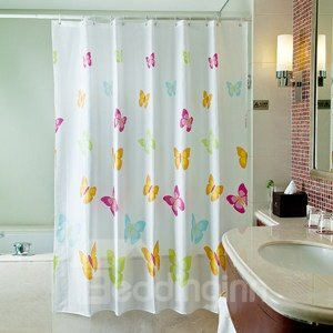 Dreamlike Gorgeous Colorful Butterflies Polyester Shower Curtain