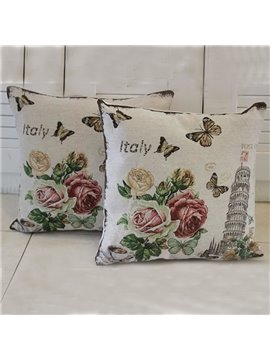 The Leaning Tower of Pisa and Flowers Printed One Piece Throw Pillow