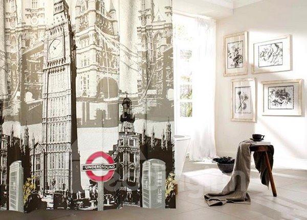 High Grade Landmark Print PEVA Shower Curtain