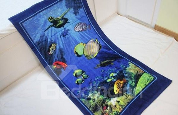 Mysterious Blue Ocean World 100% Cotton Bath Towel