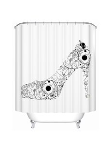 Graceful Black Flower High Heel Design Shower Curtain