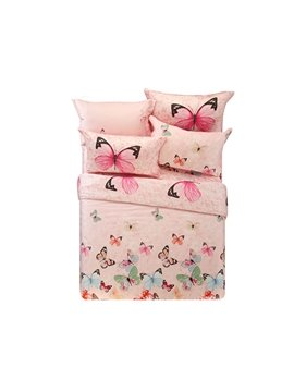 Colorful Butterfly Print 4-Piece Tencel Reversible Duvet Cover Sets