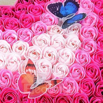 Wonderful 100 Piece Soap-Made Rose Flowers With 2-Piece Butterflies